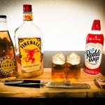 The Cinnamon Roll Shot made with Fireball, Boyland's Creme Soda, Whip Cream, and fresh Nutmeg.
